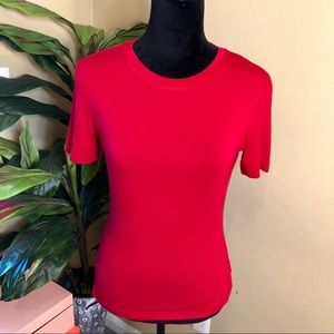 EUC St. John Red Short Sleeve Top